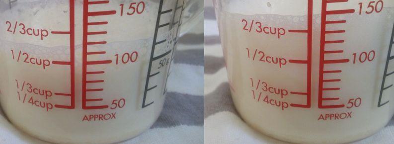 豆乳 泡立て前後の比較