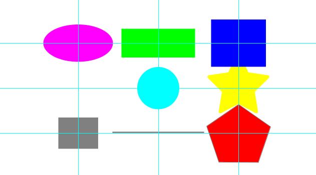 キャンバスを116等分するようにガイドを追加して、図形を並べた