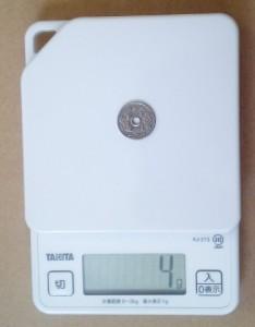 50円玉の重さ4g