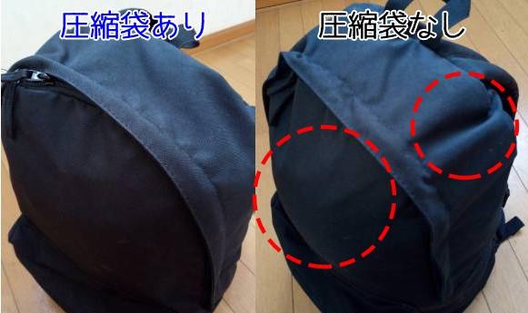 リュックへ入れた寝袋 圧縮袋の有無の比較