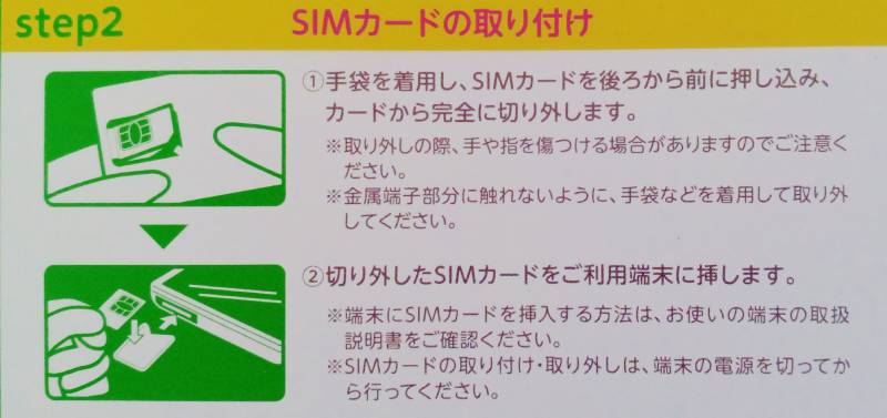mineプリペイドパック step2 SIMカードの取り付け