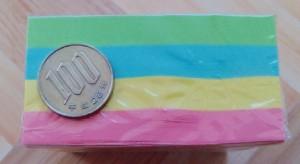 ダイソー カラーふせんの厚み 100円と比較