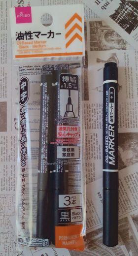 ダイソー 「油性マーカー(中字、黒、3本入り)」