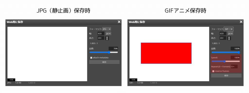 静止画とGIFアニメ保存ウインドウの比較