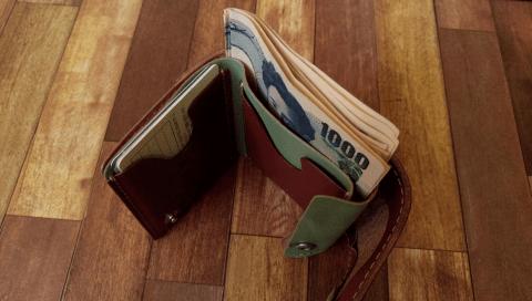小さいふ ペケーニョにお札を2つ折りにして入れる様子 その1